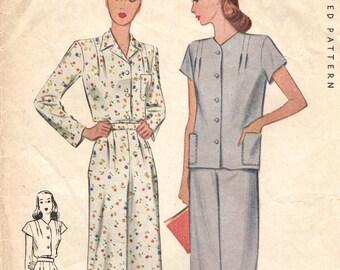 Vintage 1940s WW2 2-piece pyjamas pattern -- McCall 5849 INCOMPLETE