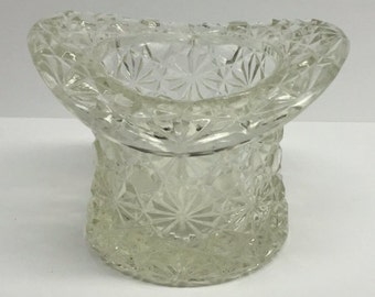 Fenton Top Hat  Clear Glass Depression Glass Button and Bows Toothpick holder planter