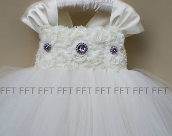 Ivory and Purple Flower Girl Dress With Cap Sleeves