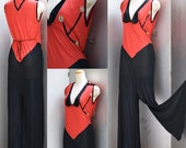 1920s - 1930s Rare beach pajamas ART DECO red and black with embroidered flowers in stretch nylon