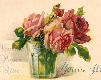Pink Roses in Green Glass Antique Chromo French Postcard from Vintage Paper Attic