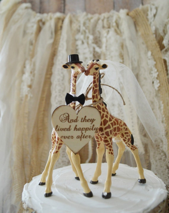Giraffe wedding cake topper-animal-wedding cake