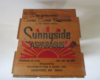 Advertising Crate, Vintage Wooden Asparagus Box, Produce Extra Fancy Sunnyside Washington Trapezoid Ends Decorative Storage Bin Container