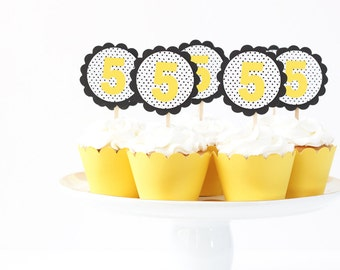 Bumble Bee Birthday Party Number Cupcake Topper Girls Birthday Age Cupcake Toppers Black and Yellow Party Supplies Custom Cupcake Toppers