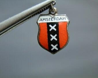 Vintage Sterling Silver Enamel Charm Amsterdam The Netherlands Souvenir Charm Bracelet Charm Vintage Charm DanPickedMinerals
