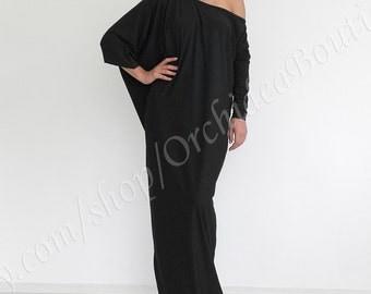 Black maxi dress/ Plus size kaftan/ Plus size dress/ Long black dress/ Loose dress/ Kaftan dress/ Long sleeve dress/ 5x maxi dress SOFIA