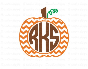 Chevron Pumpkin SVG, Pumpkin Monogram SVG, Pumpkin Frame SVG, Fall Svg, Thanksgiving Svg, Silhouette Cut Files, Cricut Cut Files