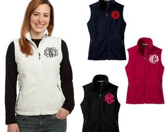 Monogram Fleece Vest - Fleece Monogrammed Vest - Women's Preppy Monogram Fleece Vest - Monogram Women's Vest - Monogrammed Fleece Coat