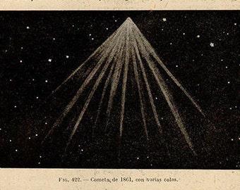 1912 Comet 1861, Original Vintage Space Astronomy Print