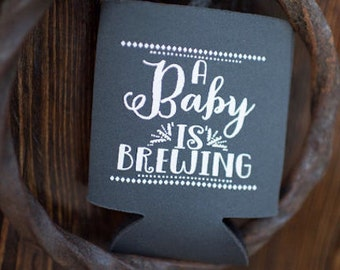 Baby Shower Favors, Baby is Brewing, Personalized Can Cooler, Gender Reveal, A Baby is Brewing, Couples Shower, Diaper Party Gifts, 1342
