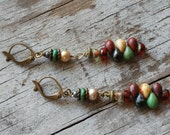 Bohemian Burgundy Green Earrings Rustic Brass Long Cluster