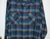 Vintage 1960s Men's Blue Plaid Wool Shirt by Pendleton Medium Long Only 12 USD