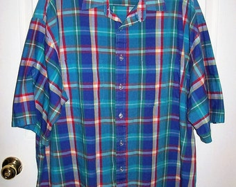 Vintage Men's Purple & Green Plaid Shirt by Above Average 2X Tall Only 8 USD