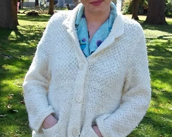 Vintage Ladies Off White Cardigan Sweater by Laura Ashley Petite Large Only 10 USD