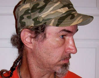 99 CENT SALE Vintage Men's Camouflage Castro Military Cap by Highland Outfitters Now .99 USD