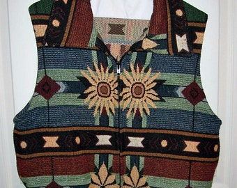 SAlE 40% Off Vintage Ladies Multi Color Southwestern Zip Front Vest by Painted Pony Small Now 3.60 USD