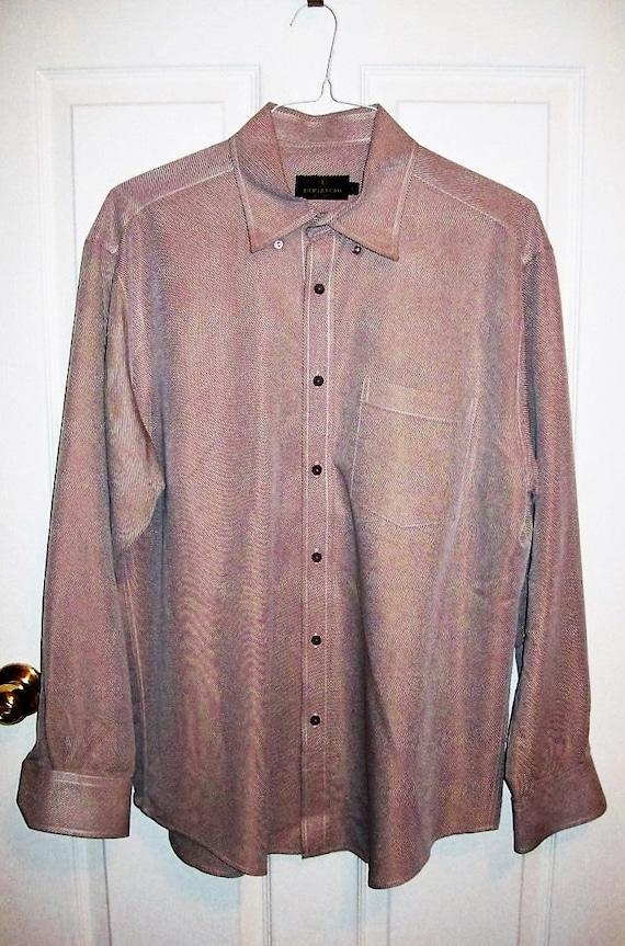 Vintage Men S Taupe Dress Shirt By Bugatchi Uomo Large