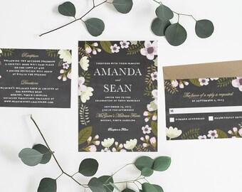 Wedding Invitation, Wedding Invitation Printable, Floral, Chalkboard Invitation, Garden Invitation, DIY Wedding Invitation, Printable - #S11