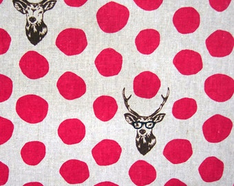 Nerdy Deer Fabric Echino Kokka Pink and Grey