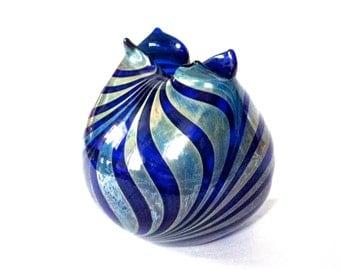 1980s Iridescent Striped Cobalt Blue Art Glass Vessel signed