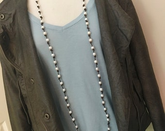 """70"""" Wrap Freshwater Pearl and Leather Necklace"""