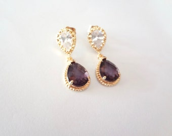 Gold earrings - Amethyst ~ Czech glass ~ Cubic Zirconia - 14k gold over sterling posts - Teardrops - Bridal jewelry - Bridesmaids - Gift