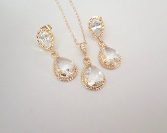 Gold earrings and necklace set,Teardrops, Gold filled necklace, 14k Gold over Sterling earrings, High quality, Bridal jewelry set, Gold set