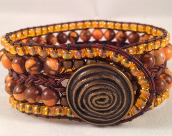 Orange Bronzite Jasper Toho Glass Beads Brass Sprial Button Leather Cuff Bracelet