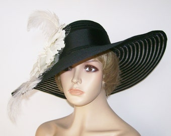 Womens Black Hat, Black and White Hat, Kentucky Derby Hat, Garden Party Hat or Victorian Tea Party