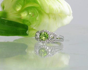 August Birthstone Ring, August Birthstone, Sterling Peridot Ring, Natural Peridot, Herkimer Diamond Ring