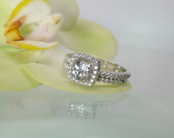 White Topaz Wedding Set, White Topaz Engagement Ring, Sterling Silver Wedding Set, Natural White Topaz