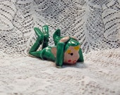 Vintage Green Ceramic Pixie with Hands on Head Japan  Mint