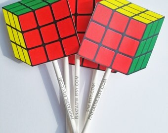 12 Totally Awesome 80s Rubik Cube Cupcake Toppers, Rubik Cube favors, I love the 80s, 80s party, 80s party decorations, 80s birthday