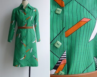 15% SALE (Code In Shop) - Vintage 70's 'Bars & Stripes' Green Op Art Silk Shirt Dress XS or S