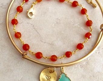 Initial Charm Bracelet and Mint Drop Bangle, Orange Jade Bracelet Combination, Bridesmaid Gift, Jewelry Gift for Her, Limonbijoux