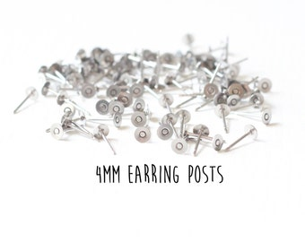 48 pieces - 24 pair - 4mm - Stainless Steel - Flat Pad - Earring Posts