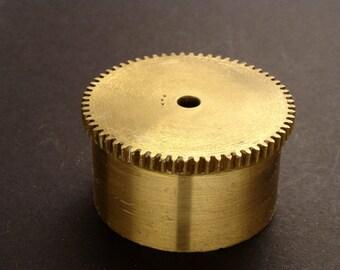 Large Brass Cylinder Gear, Mainspring Barrel from Vintage Clock Movement, Vintage Clockwork Mechanism Parts, Steampunk Art Supplies 03887