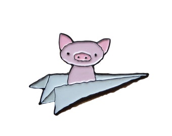 Soft Enamel Pig Pin - Flying Pig Pin - Pig in a White Paper Plane Pin