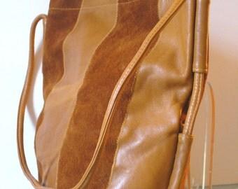 Vintage Boho Caramel Leather & Suede  Bag