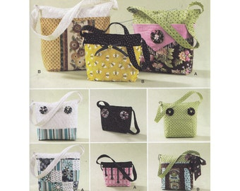 Tote Bags in Three Sizes with Detachable Covers Simplicity 2277 Project Storage Shopping Bags or Purses Sewing Pattern