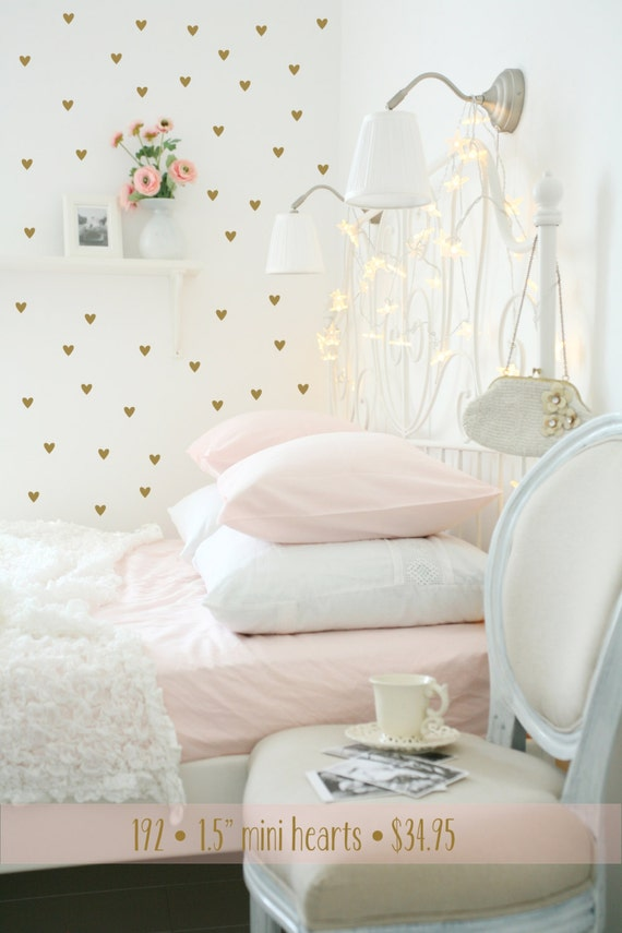 Heart wall decals gold heart decals peel stick wall for Cute gold heart wall decals