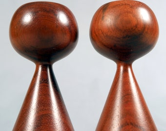 Danish Modern Rosewood or Teak Candlestick Holders