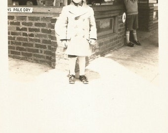 Vintage Photo - Two Little Boys in Front of a Store - Vintage Snapshot - Original Photo - Found Photo - Collectibles