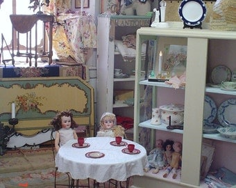 1930s Childs Ice Cream Parlor Set Table and Chairs Iron Wood Nursery Decor Farmhouse Prairie Cottage