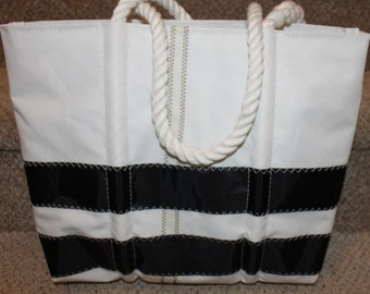 Recycled black stripe sail bag