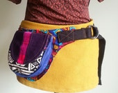 Colorful tribal ethnic fabric utility belt festival fanny pack