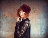 Large deep red velvet  rose flower  crown, flower garland, Lana Del Ray, wedding headpiece, floral hairpiece