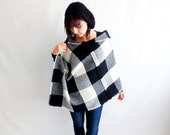 Wool poncho, checkered poncho, black poncho, women ponchos, shawl, wool cape, fall fashion,womens clothing,outerwear, maternity clothes