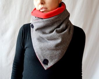 Women's gift, Cowl scarf, tweed scarf, grey scarf, unisex scarf, grey cowl, men's scarf, wool scarf, black scarf, red neckwarmer