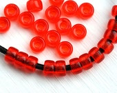 50pc Red Pony beads, Transparent Light Red green Czech glass Roller beads, 2mm large hole, round spacer beads - 6mm - 2590